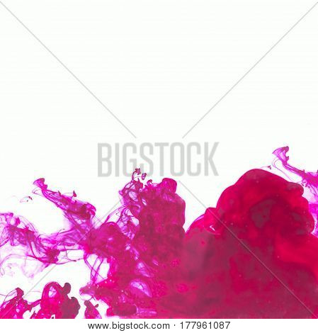 White background with purple abstract ink in water