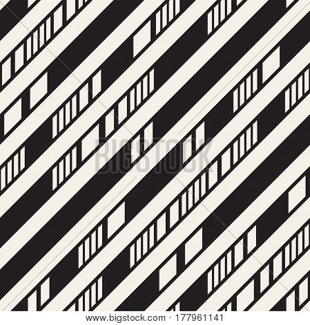 Black and White Irregular Dashed Lines Pattern. Modern Abstract Vector Seamless Background