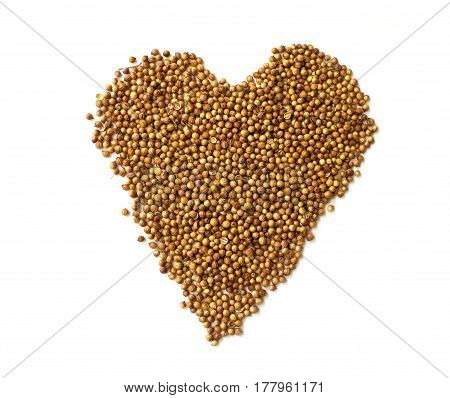 Heart Made Of Coriander Seeds Isolated On White Background. I Love Cooking