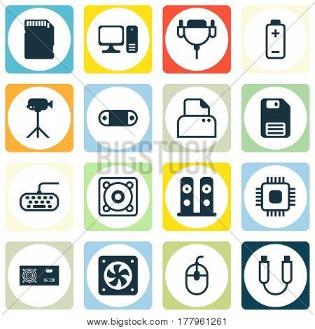 Set Of 16 Computer Hardware Icons. Includes Desktop Computer, Diskette, Music And Other Symbols. Beautiful Design Elements.