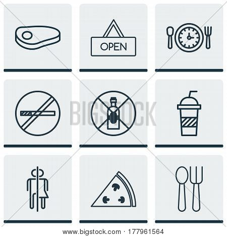 Set Of 9 Restaurant Icons. Includes No Drinking, Stop Smoke, Meal Hour And Other Symbols. Beautiful Design Elements.
