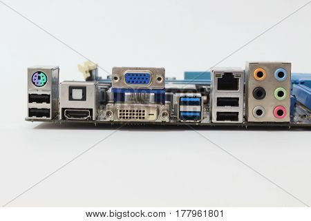 Ports on the computer port on a white background.