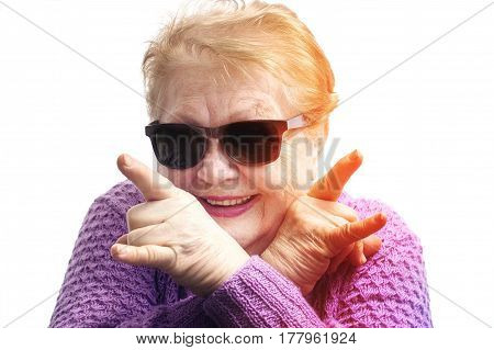 Funny Old Woman, Grandmother Having Fun, Wearing Sunglasses, On White Background, Dance, Rock Symbol