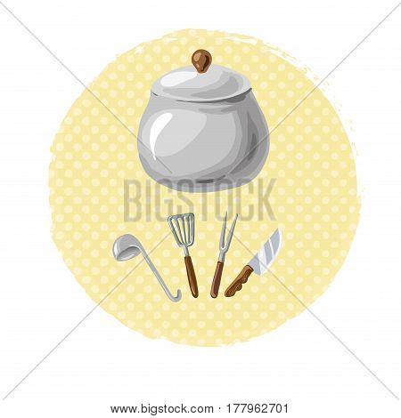 Cooking dishes free hand drawn elements vector art