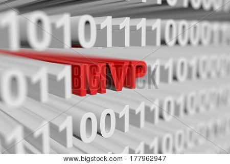 MVP represented as a binary code with blurred background 3d illustration