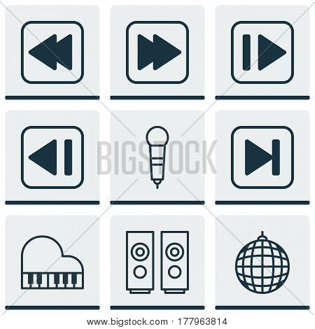 Set Of 9 Music Icons. Includes Following Song, Dance Club, Rewind Back And Other Symbols. Beautiful Design Elements.