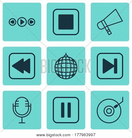Set Of 9 Audio Icons. Includes Mike, Bullhorn, Rewind Back And Other Symbols. Beautiful Design Elements.