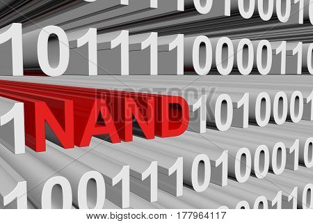 NAND in the form of binary code, 3D illustration