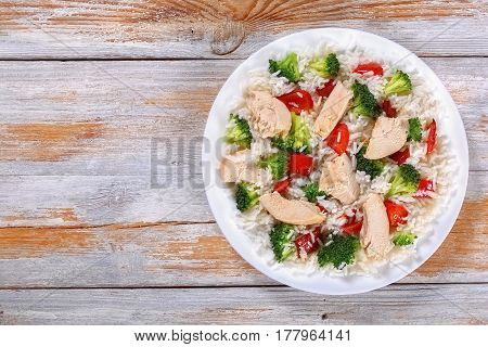 Fried Vegetables And Boiled Chicken Breast