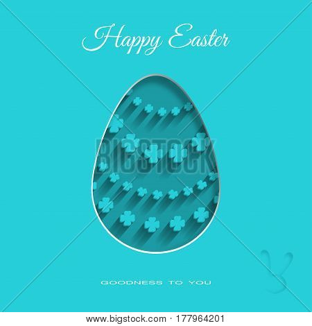 Vector paper art of dark turquoise Easter egg with floral pattern shadow and text on the turquoise background.