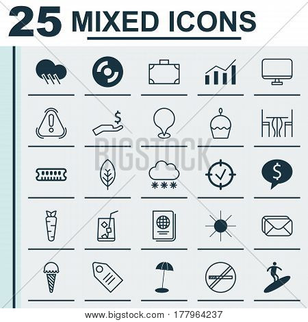 Set Of 25 Universal Editable Icons. Can Be Used For Web, Mobile And App Design. Includes Elements Such As Blank Cd, Lemon Juice, Portfolio And More.