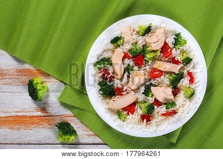 Fried Broccoli, Bell Pepper And Chicken Breast