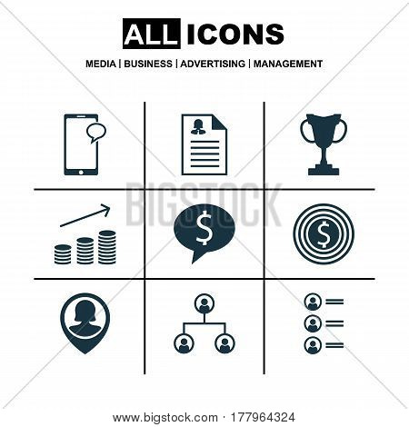Set Of 9 Human Resources Icons. Includes Business Deal, Pin Employee, Female Application And Other Symbols. Beautiful Design Elements.