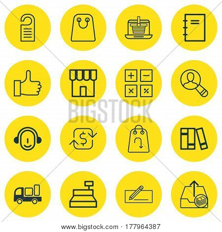 Set Of 16 Ecommerce Icons. Includes Bookshelf, Recommended, Money Transfer And Other Symbols. Beautiful Design Elements.