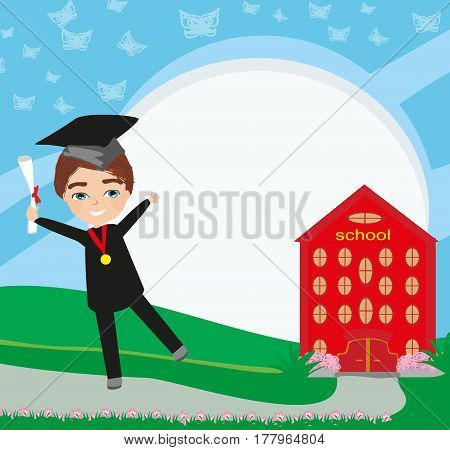 School-College Graduation - Boy , vector illustration