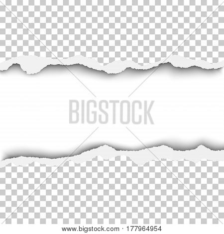Vector snatched horizontal lane with torn edges in sheet of transparent and checkered paper. White background of the resulting window.Template paper design.