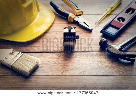 Construction Tools On Wooden Plank
