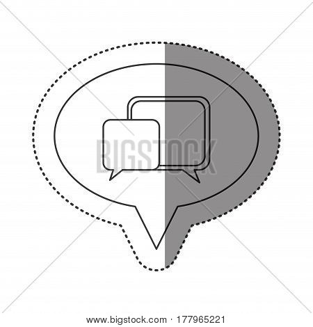 sticker of monochrome contour of oval speech with dialogue box vector illustration