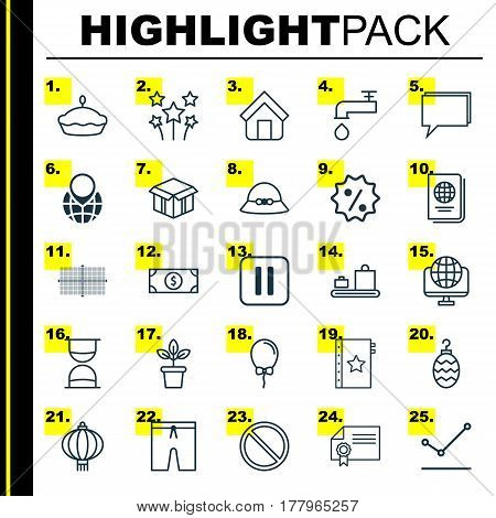 Set Of 25 Universal Editable Icons. Can Be Used For Web, Mobile And App Design. Includes Elements Such As Mute Song, Rebate Sign, Pointed Line Graph And More.