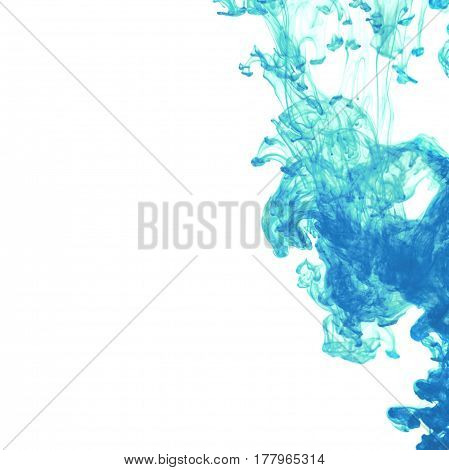 White background with blue abstract ink in water