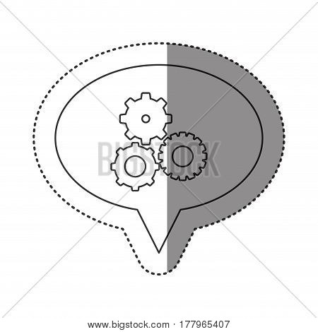 sticker of monochrome contour of oval speech with pinions set vector illustration