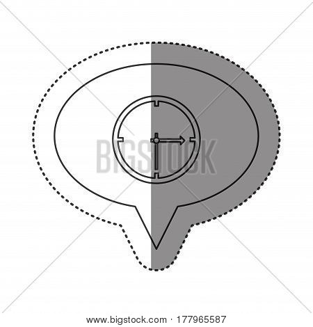 sticker of monochrome contour of oval speech with wall clock vector illustration