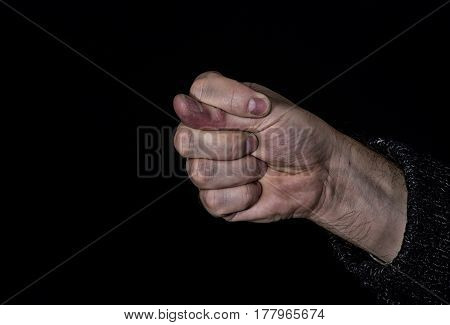 Dulya with dirty hand - rude gesture used in Turkish Slavic and some other cultures.