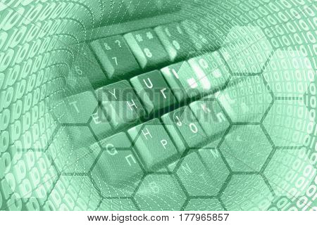 Computer background in greens with digits and computer keyboard.