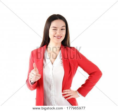 Beautiful young business woman standing on white background