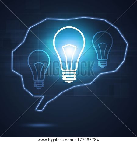 Human Brain Shape With Bright Lamp