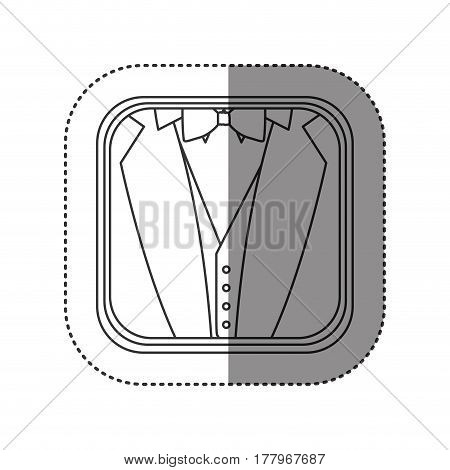 sticker of monochrome rounded square with background of formal suit vector illustration
