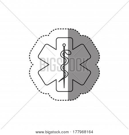 sticker of monochrome silhouette of health symbol with star of life vector illustration