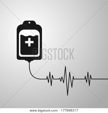 Blood Bag With Heart Beat. Donate Concept. Vector Illustration Eps 10.