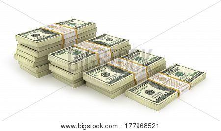 Stacks of Hundred US Dollars. Money stairs. 3d illustration