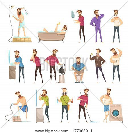 Male hygiene set in cartoon retro style with bearded person in various cleaning activities isolated vector illustration