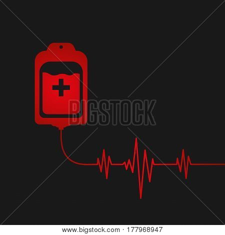 Blood bag with heart beat. Donate concept. Vector illustration EPS 10