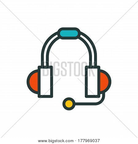 Thin lines connection headphones icon outline of big data center group cloud computing system internet protection password access instrument vector illustration. Modern design simple logo concept.