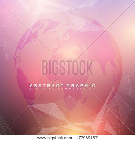 Three-dimensional abstract background planet. Virtual background communication or particle compounds. Global network connection and lines plexus. Minimalistic chaotic design, vector illustration