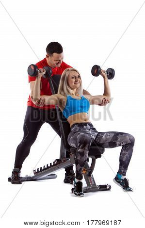 couple man and woman doing workout on white isolated background