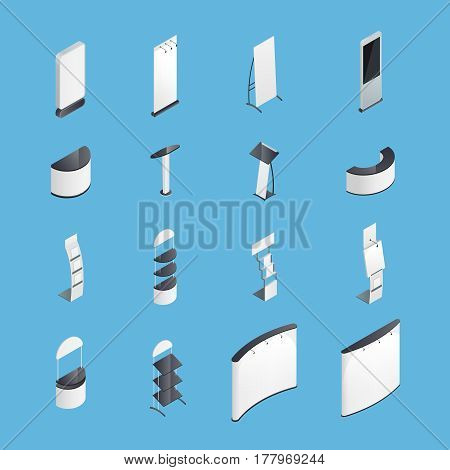 Set of isometric icons with exhibition stands including display desks shelves on blue background isolated vector illustration