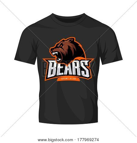 Furious bear sport vector logo concept isolated on black t-shirt mockup. Modern predator professional team badge design. Premium quality wild animal t-shirt tee print illustration.