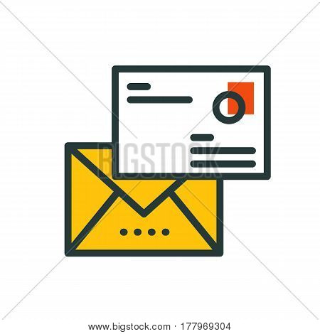 Thin lines connection mail icon outline of big data center group cloud computing system internet protection password access instrument vector illustration. Modern design simple logo concept.