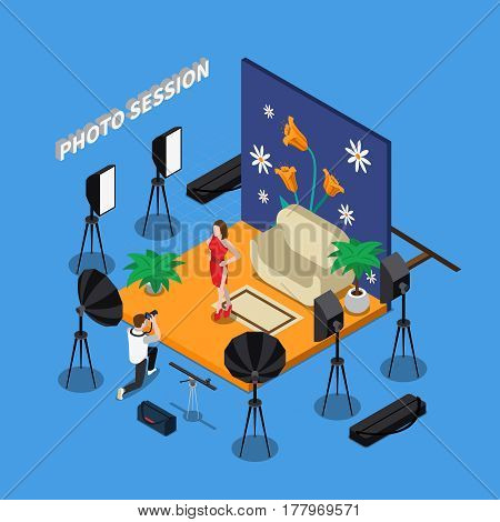 Photo session isometric design including man with camera and girl model in studio with spotlights vector illustration