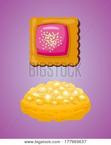 Cookie homemade breakfast bake cakes isolated and tasty snack biscuit pastry delicious sweet dessert bakery eating vector illustration. Gourmet indulgence stack unhealthy confectionery.