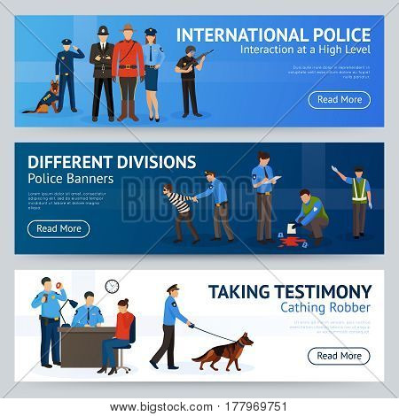 International police force cooperation internet site 3 flat banners set design with trained dog isolated vector illustration