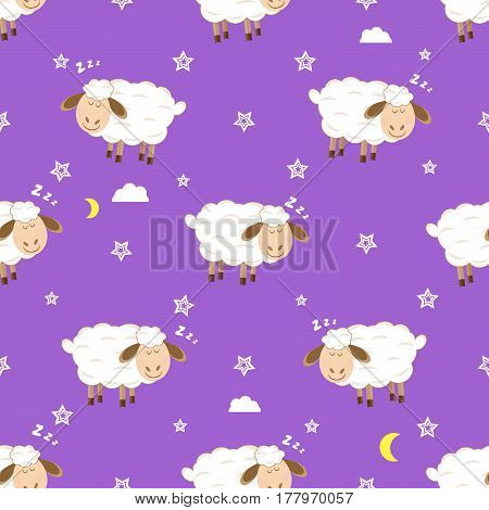 Cute sleeping lambs seamless Children's pattern vector illustration