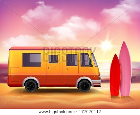 Retro style 3D realistic surfing van with pink red surfboards on fantastic colored sunset background vector illustration