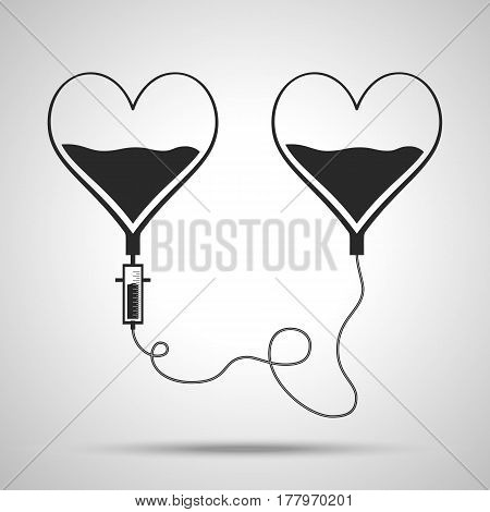 Two bags in shape of hearts. Blood donation day concept. Human donates blood. Vector illustration in flat style