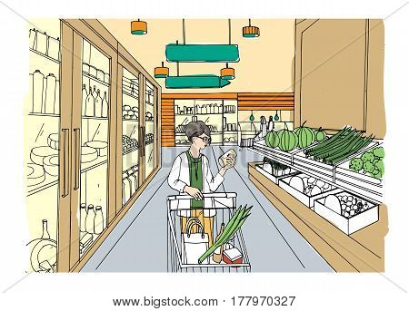 Supermarket interior with shopper girl, Grocery store, hand drawn colorful illustration.