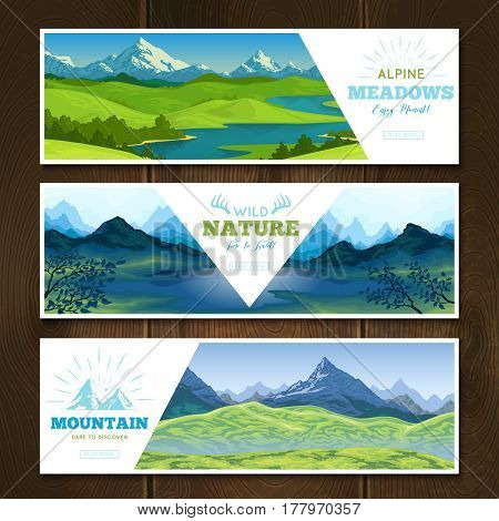Set of horizontal nature landscape banners with mountain scenery decorative title text and read more button vector illustration
